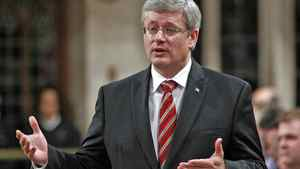Prime Minister Stephen Harper speaks during Question Period in the House of Commons on Sept. 29, 2011.
