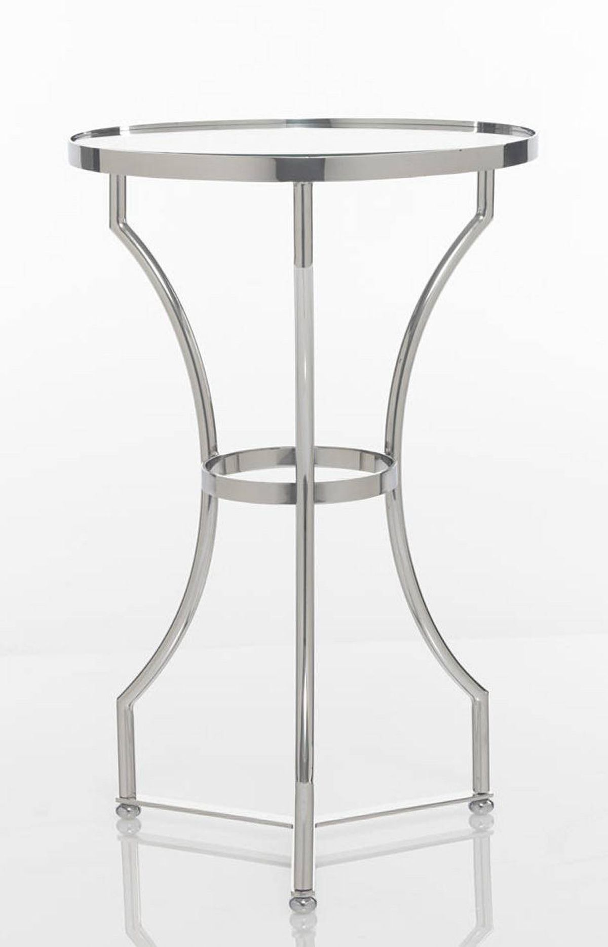 TREND: JAZZ-AGE Glass and stainless steel side table, $149.99 at HomeSense (www.homesense.ca).