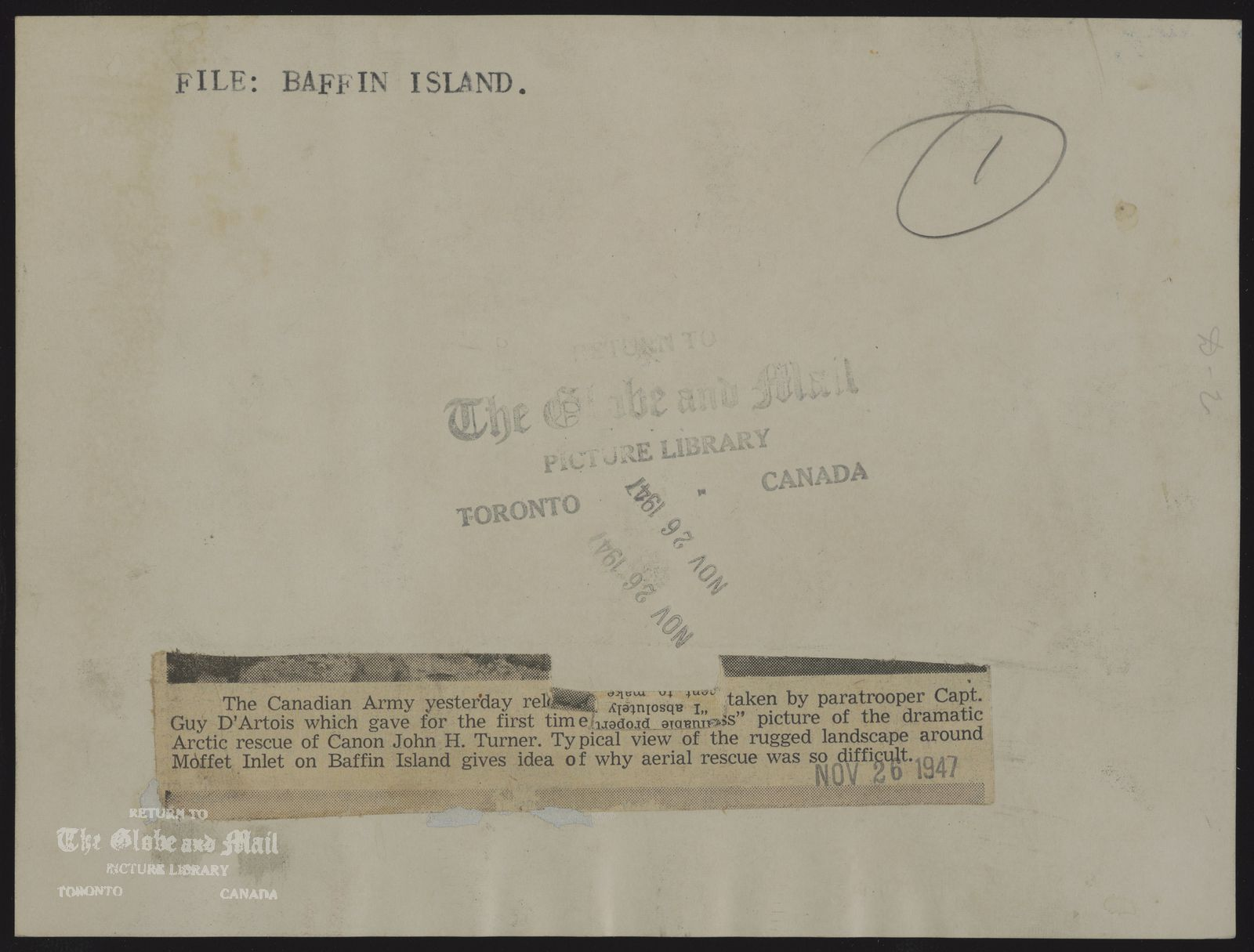 The notes written and typed on the back of this photograph, from the time it was printed, are as follows: BAFFIN ISLAND The Canadian Army yesterday released photos taken by paratrooper Capt. Guy D'Artois which gave for the first time an