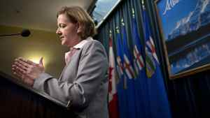 Alberta Premier Alison Redford during a press conference in Calgary April 24, 2012 after being elected premier Monday night.