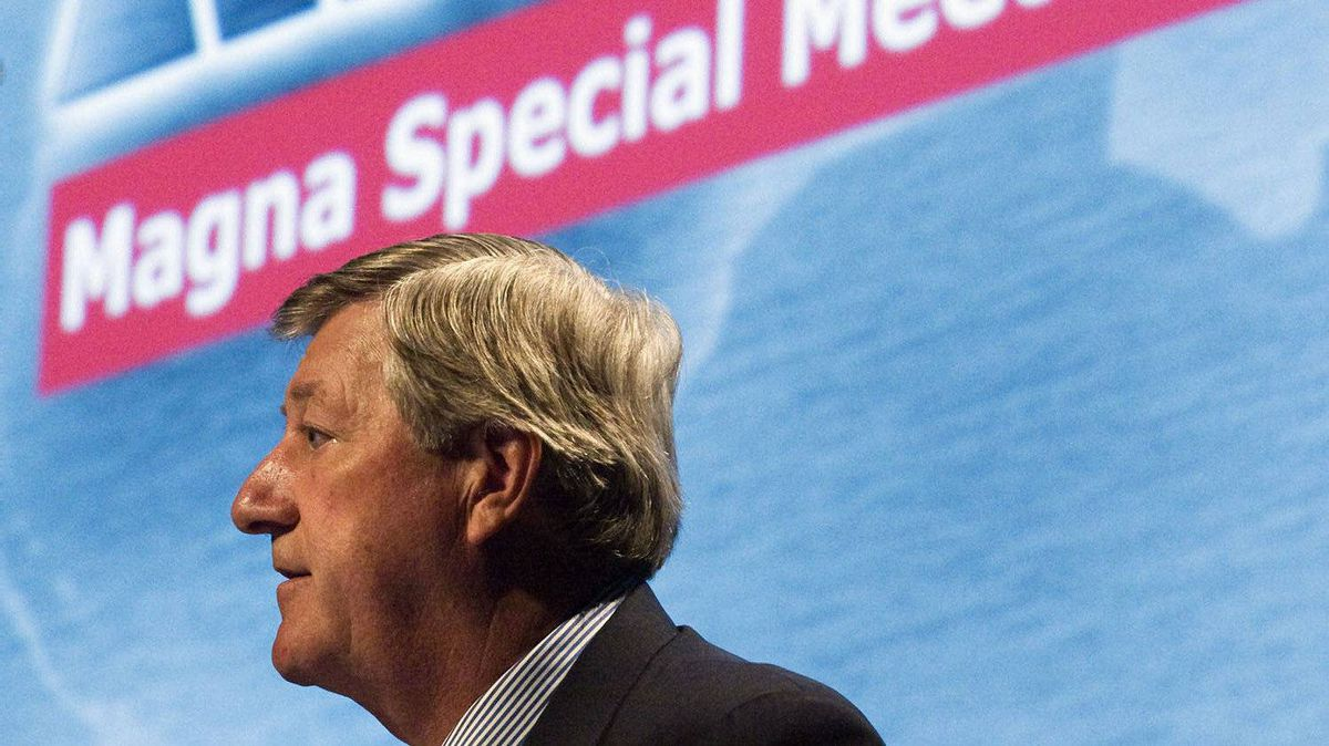 Magna chairman Mike Harris chairs a special meeting of shareholders in Toronto, Tuesday Aug. 28, 2007.