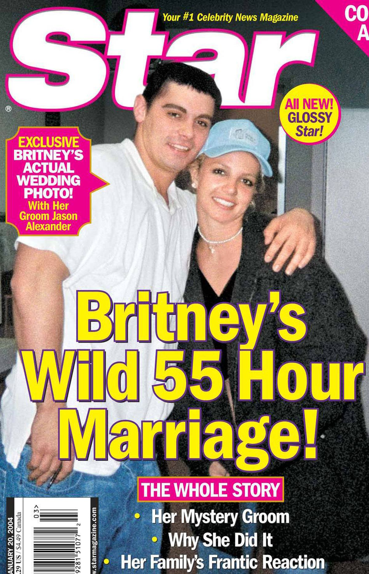 Britney Spears fed the tabloid mill in January 2004 when she married her childhood sweetheart, Jason Alexander, in a Las Vegas chapel. The marriage was annulled 55 hours later.