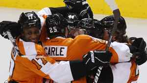 Philadelphia Flyers celebrates the game winning goal against the New Jersey Devils during the overtime period in Game 1 of their NHL Eastern Conference semi-final playoff hockey series in Philadelphia, Pennsylvania, April 29, 2012. REUTERS/Tim Shaffer
