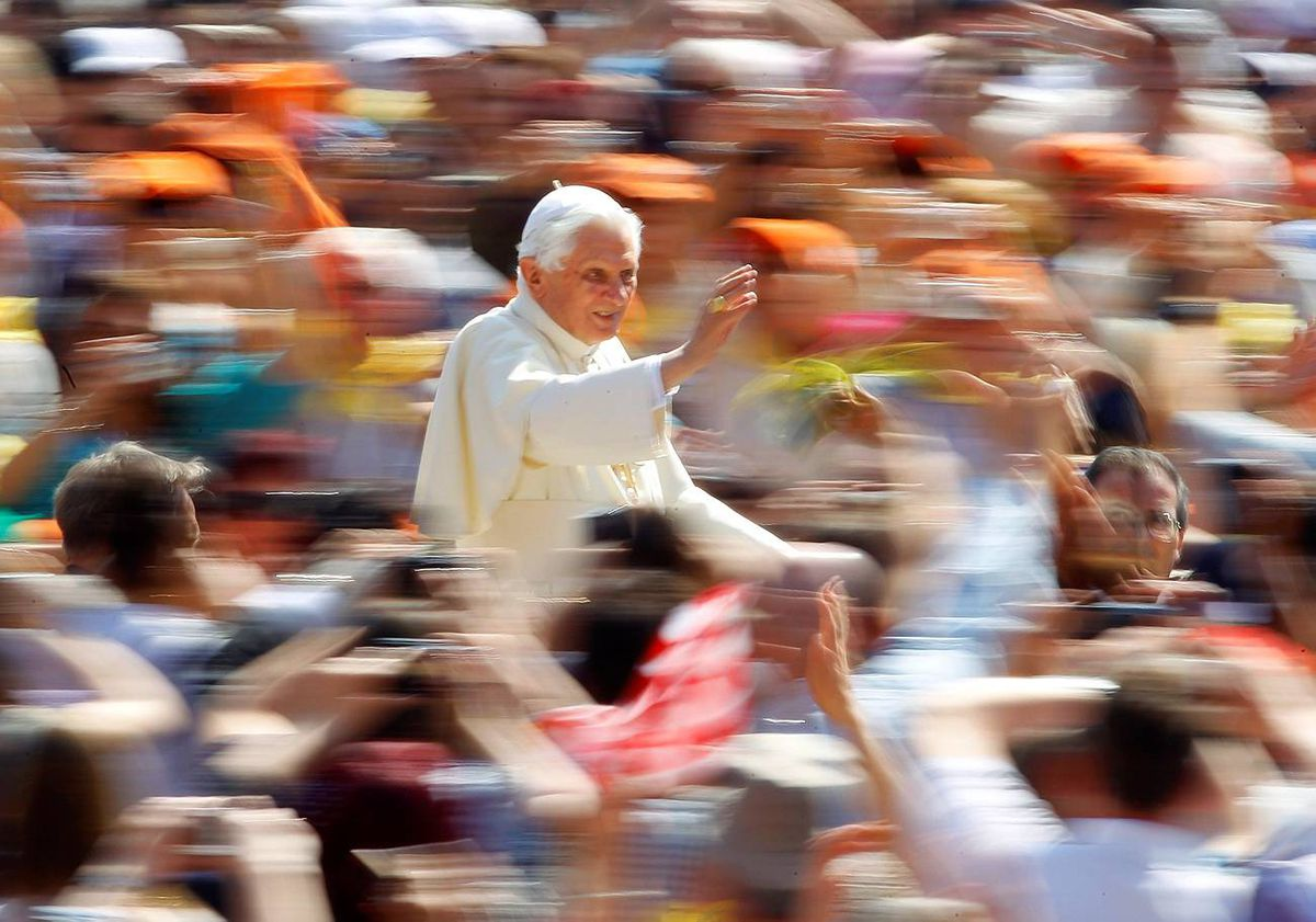 Pope Benedict XVI arrives to lead his weekly general audience in Saint Peter's Square at the Vatican