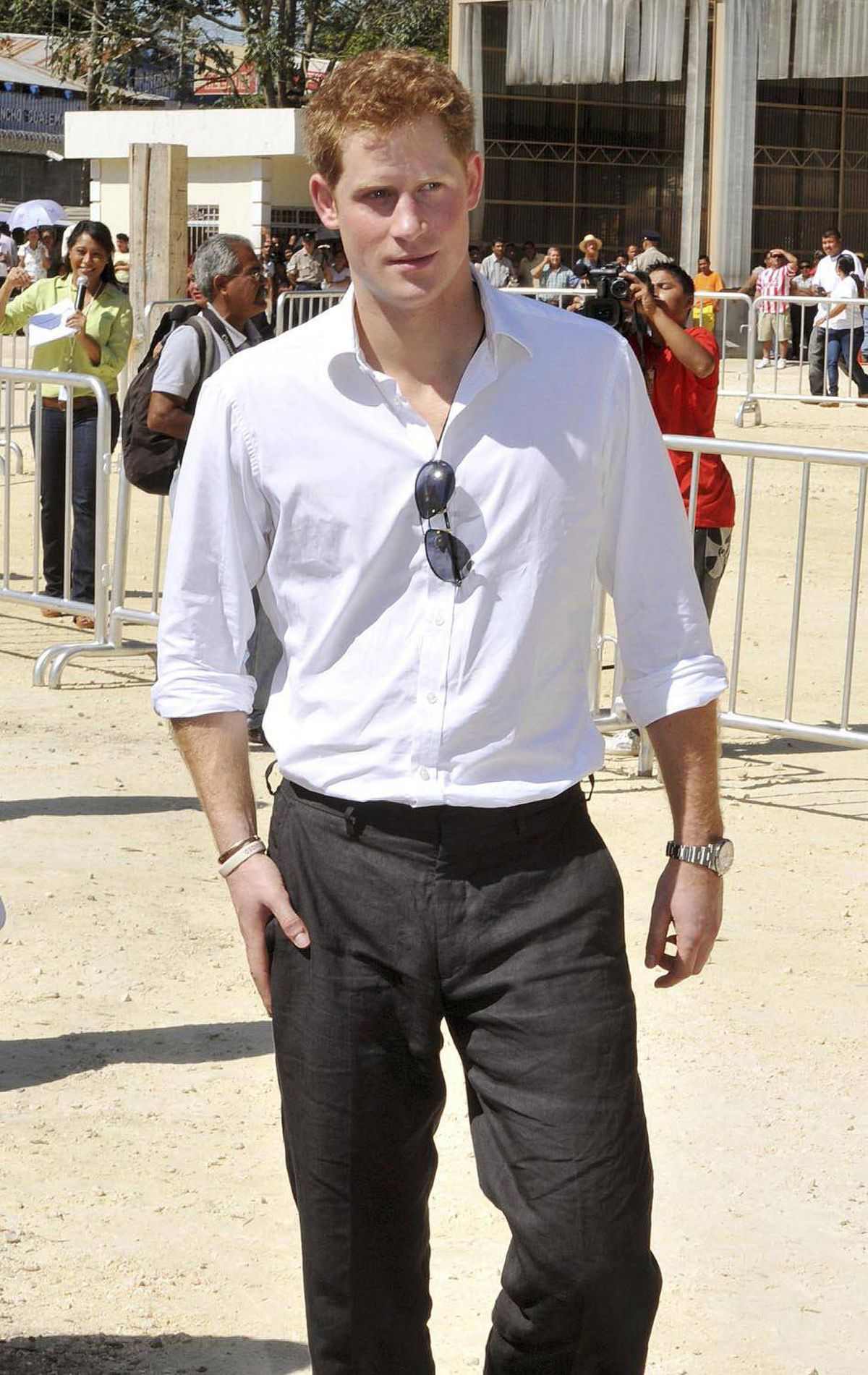 CASUAL Prince Harry tours the OAS Art School in the adjacency zone on the Belize-Guatemalan border March 3, 2012.