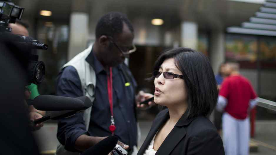 Gloria M. Ng, a lawyer that represents Joshua Lyle Evans who is accused of stabbing Sunny Jaura during last week's riots, speaks to reporters outside the Downtown Community Court in Vancouver, Wednesday, June 22, 2011. Rafal Gerszak for The Globe and Mail