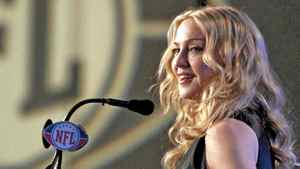 Madonna talks about her upcoming Super Bowl halftime show in Indianapolis, Feb. 2, 2012.