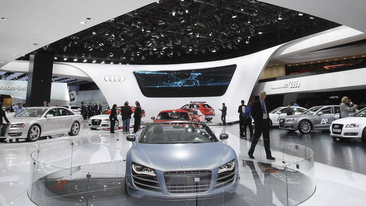 The Audi R8 GT is displayed on the floor at the North American International Auto Show in Detroit, Tuesday, Jan. 10, 2012.