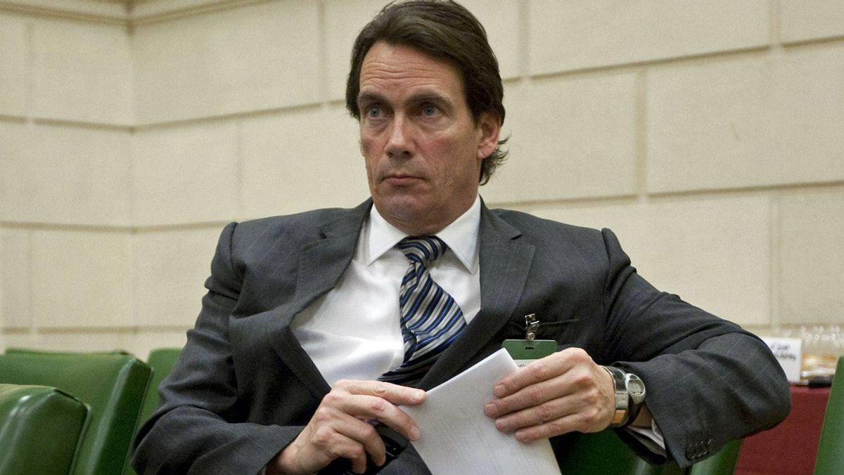 Quebecor chief executive Pierre Karl Peladeau waits to testify before the Commons access-to-information committee on Oct. 20, 2011.