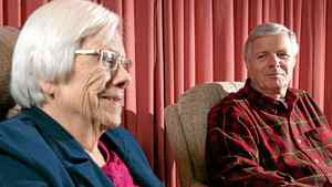 Mary Christie and her son Graham sit at the Rideaucrest seniors home in Kingston, Ontario on Nov. 24, 2011.