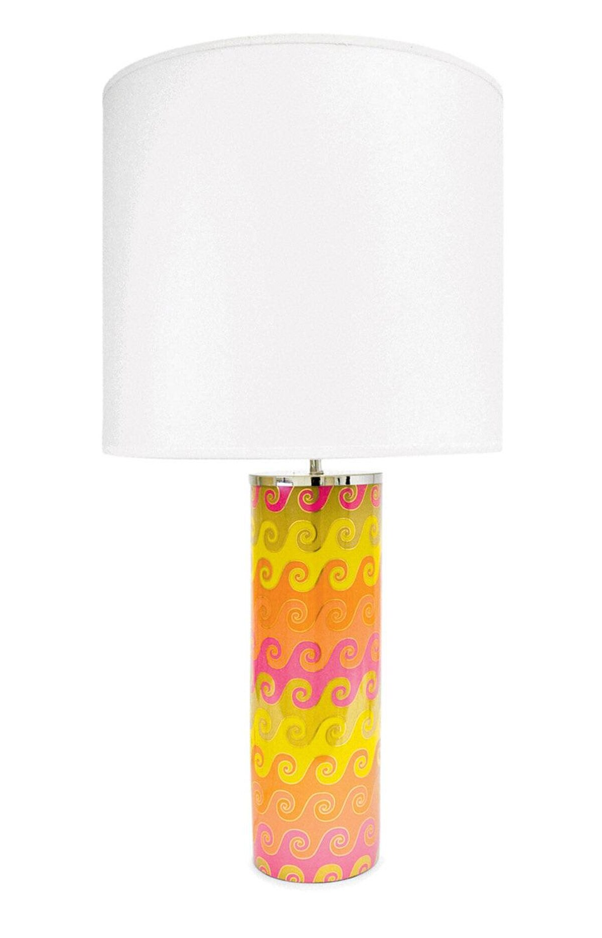 A single lamp in high-fired porcelain will add personality in spades to a bedside table or console. Jonathan Adler large Carnaby Waves lamp in Pink, $295 through www.jonathanadler.com.
