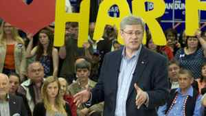 Conservative Leader Stephen Harper speaks to supporters during a campaign stop in Campbell River, B.C. on Saturday April 23, 2011.