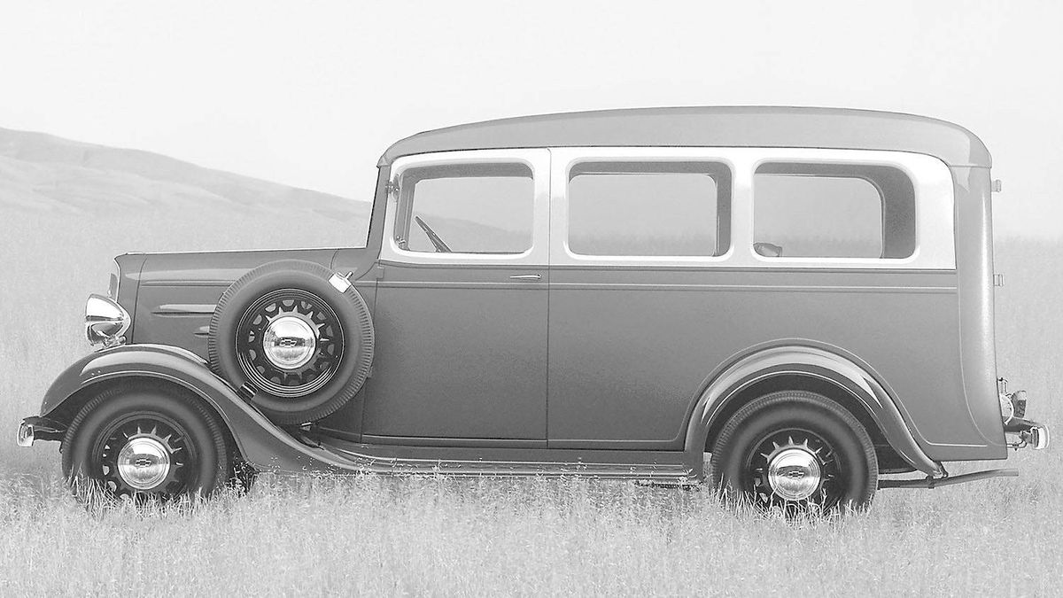 1936 Chevrolet Suburban Carryall: Forerunner to the modern SUV, with a station wagon body on a half-ton truck chassis.