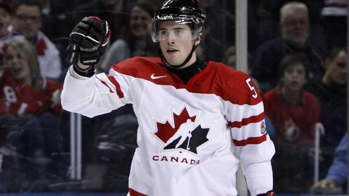 Canada's Erik Gudbranson celebrates after scoring during the first period of their game against Norway at the IIHF World Junior Championships in Buffalo, New York December 29, 2010.