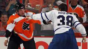 Jay Rosehill #38 of the Toronto Maple Leafs and Jody Shelley #45 of the Philadelphia Flyers wind down in their second period fight at the Wells Fargo Center on September 21, 2011 in Philadelphia, Pennsylvania.