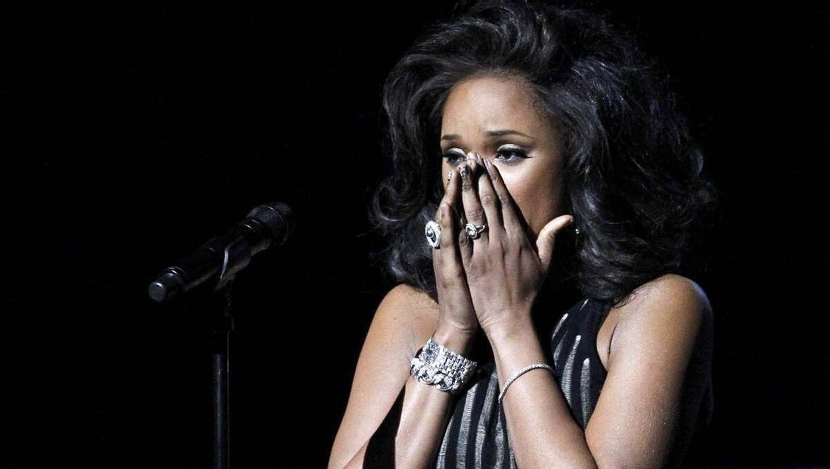 Jennifer Hudson after performing I Will Always Love You as a tribute to the late Whitney Houston at the 54th annual Grammy Awards in Los Angeles on Feb. 12, 2012.