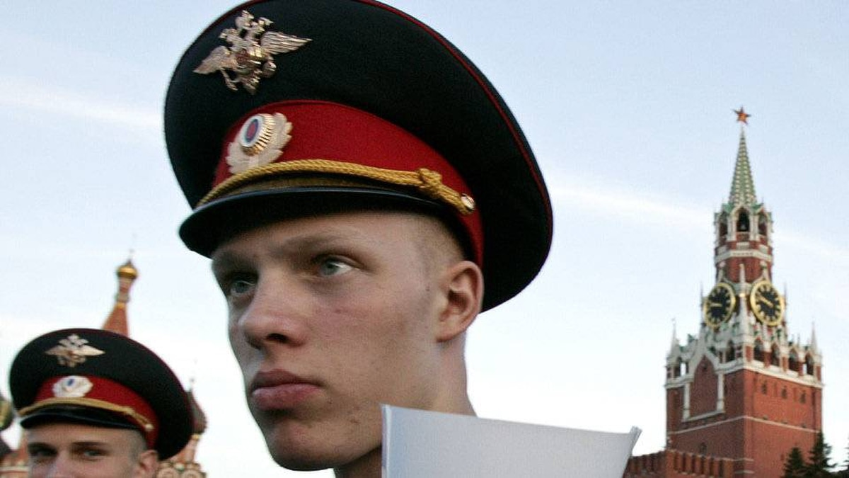 A police cadet guards the Day of Russia holiday celebration at the Red Square late Tuesday, June 12, 2007.