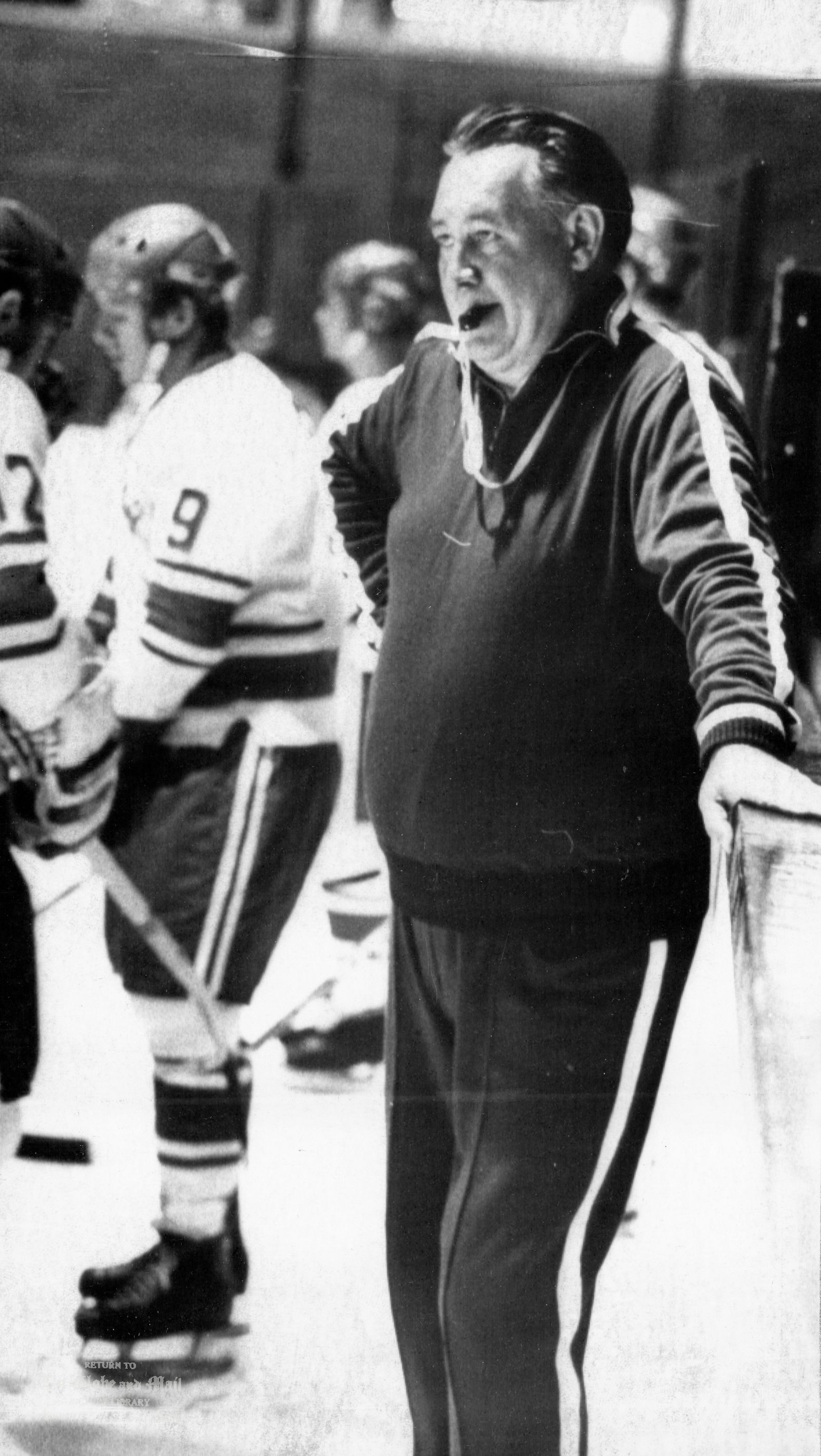 AUGUST 31, 1972 -- MONTREAL -- RUSSIAN HOCKEY TEAM PRACTICE -- Boris Kulagin, second coach of the Russian National Hockey team, looks cool and concentrated at a practice run of the Soviet team at the St. Lawrence Arena in Montreal, August 31, 1972. The Russians meet Team Canada for the first of eight games Sept. 2, 1972. CP PHOTO