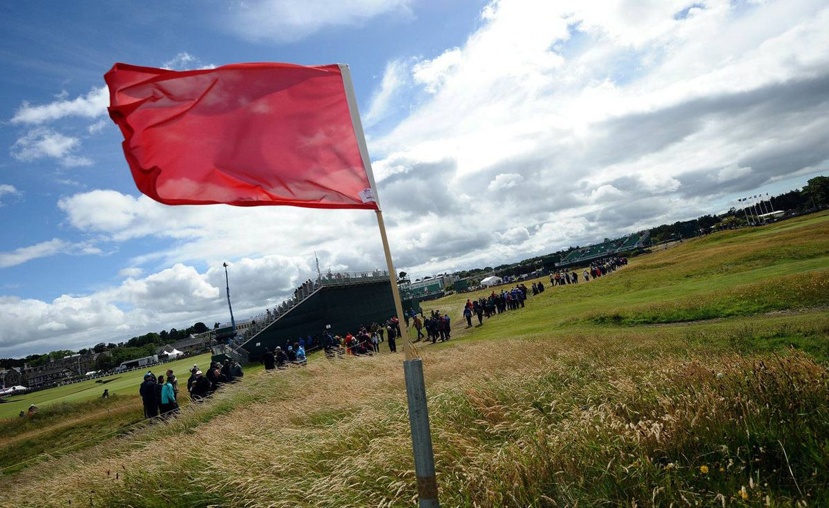 Red flag raised to indicate play suspended at St. Andrews