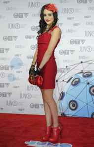 Lindi Ortega poses on the red carpet as she arrives at the Juno Awards in Ottawa, Sunday April 1, 2012.
