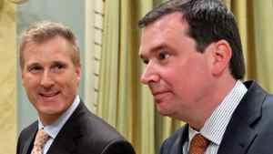 Maxime Bernier, the minister of state for small busniess and tourism, and Industry Minister Christian Paradis Minister leave a cabinet swearing-in ceremony at Rideau Hall on May 18, 2011.