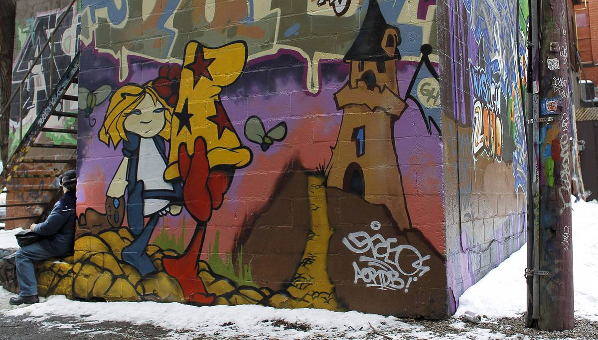 A selection of the graffiti that is on the walls in the area west of Spadina, in the alleys off Queen Street West in Toronto