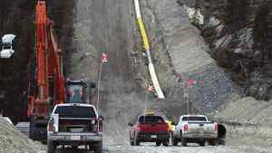 A portion of Kinder Morgan's Trans Mountain pipeline, shown here being installed at Jasper National Park in 2007.