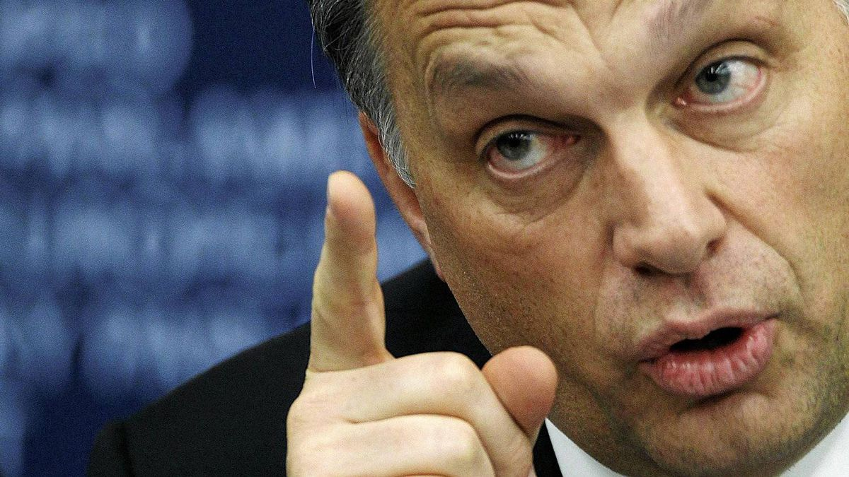 Hungarian Prime Minister Viktor Orban addresses journalists during a news briefing at the European Parliament in Strasbourg Jan. 19, 2011.