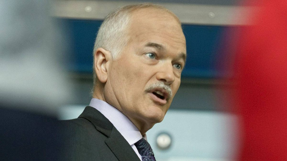 NDP Leader Jack Layton responds to question at a news conference in Toronto on April 21, 2011.