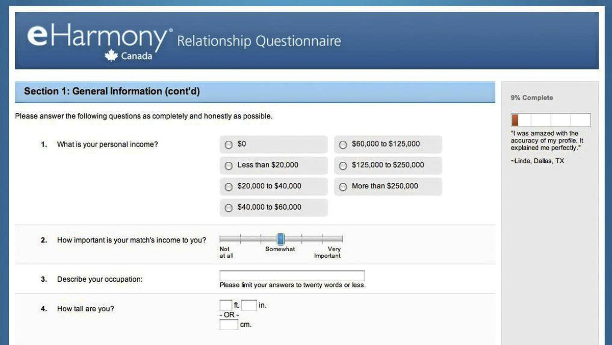 eharmony dating service questionnaire