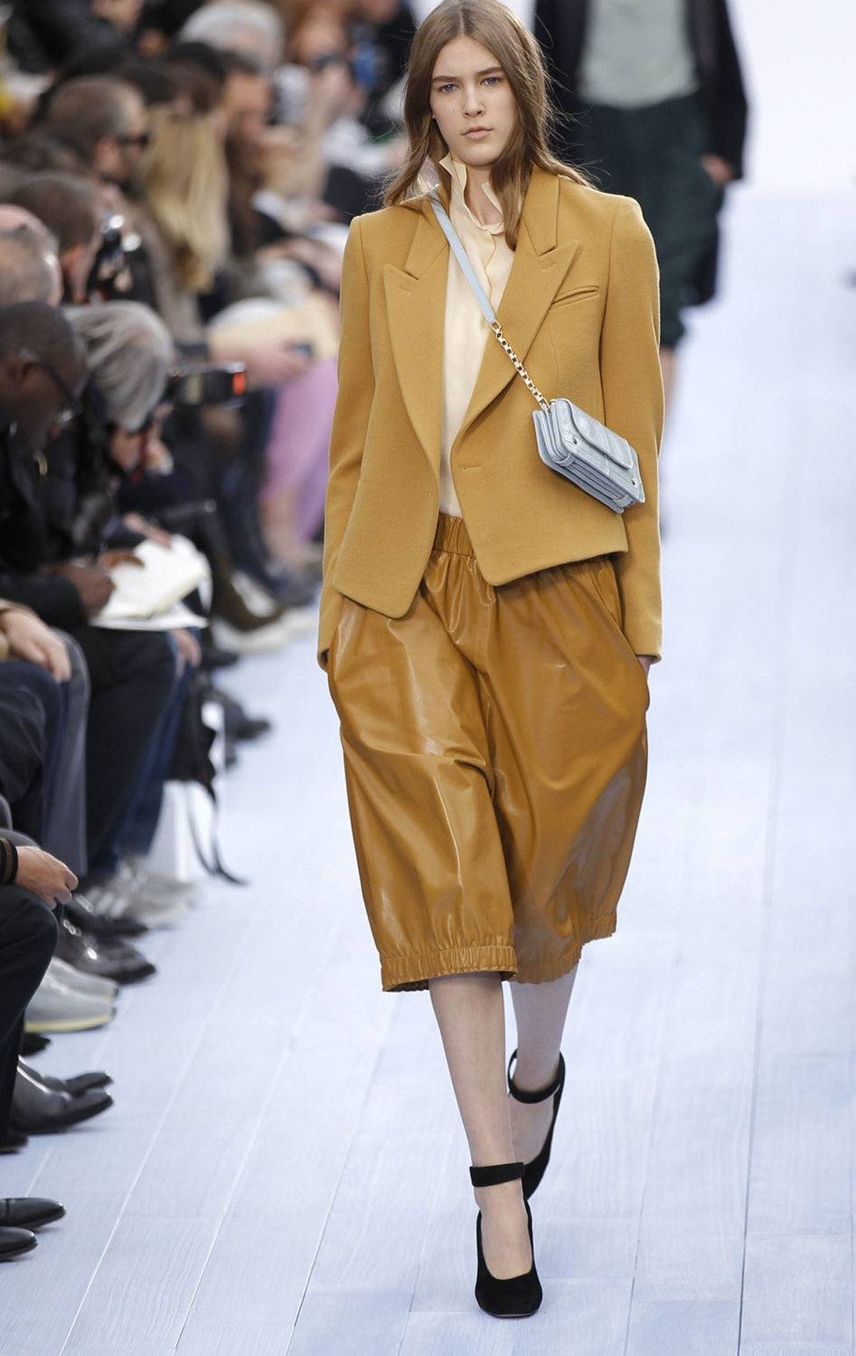 Where leather pants in previous seasons have typically been second-skin tight, Waight Keller is among several designers showing slouchier fits and varying lengths. The catch is that these mustard-yellow culottes are the reverse of flattering.