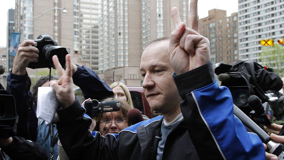 Computer security expert Byron Sonne reacts as he leaves the University Avenue Courthouse after spending the last 10 months in jail accused of possessing explosives in the days before the G20. Toronto May 17, 2010.
