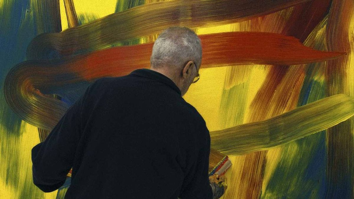"""Gerhard Richter at work in a scene from the aptly titled film """"Gerhard Richter Painting"""""""