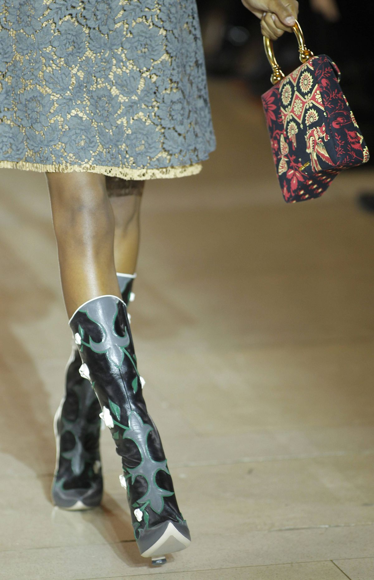 Miu Miu can always be counted on for kooky footwear, coveted by the fashion-obsessed. Witness these loosely interpreted cowboy boots, prime material for street-style blogs.