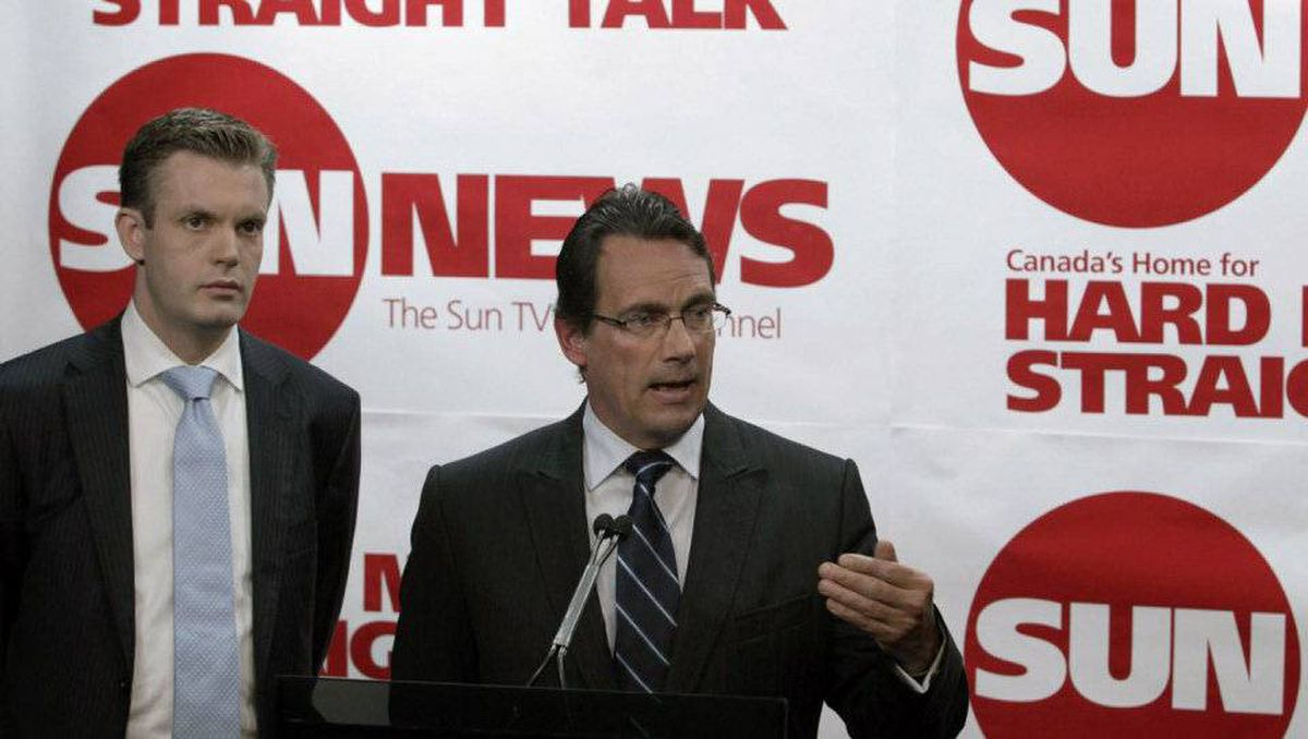 Pierre Karl Peladeau, right, president and CEO of Quebecor Inc., and Kory Teneycke, vice president of development of Quebecor Media, announce the companies' investment in the creation of a new English specialty channel called Sun TV News in Toronto on June 15, 2010.