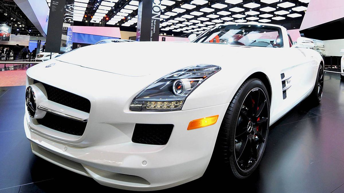The Mercedes-Benz SLS AMG Roadster, which sells for $226,000, is displayed on the final press preview day for the North American International Auto Show in Detroit, Michigan, January 10, 2012.
