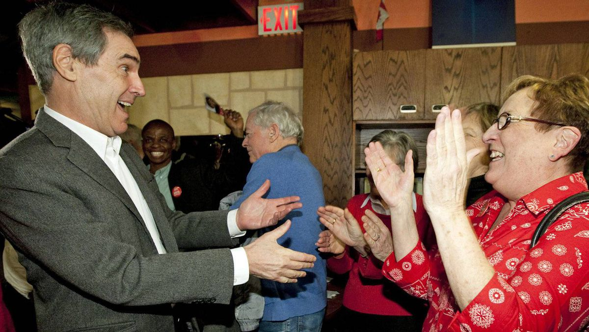 Liberal Leader Michael Ignatieff arrives to a meet-and-greet at a family restaurant in Ottawa on Jan. 12, 2011.