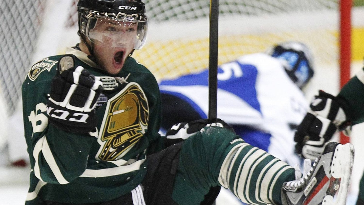 London Knights' Max Domi celebrates his goal against the Saint-John Seadogs during the first period of their round-robin Memorial Cup ice hockey game in Shawinigan, Quebec May 19, 2012. REUTERS/Mathieu Belanger
