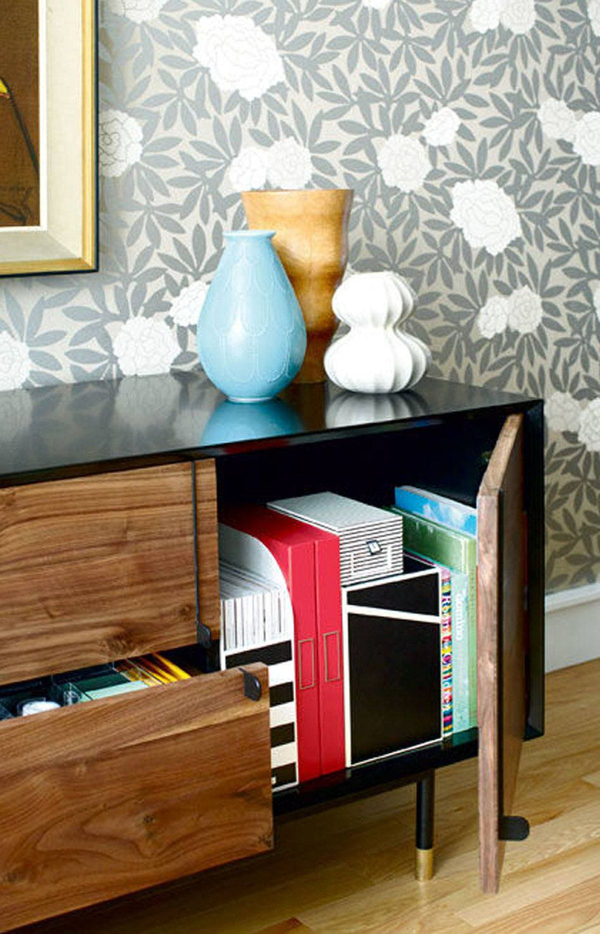 RETHINK YOUR OFFICE SPACE Work at home? No? Then you don't need a home office. Find a stylish storage unit instead for your bills. Where to buy: Luna 3 cabinet, $1,099 at Shelter (www.shelterfurniture.ca) Bigso AB files and boxes, $9.99 to $19.99 at Solutions (www.solutions-stores.ca)