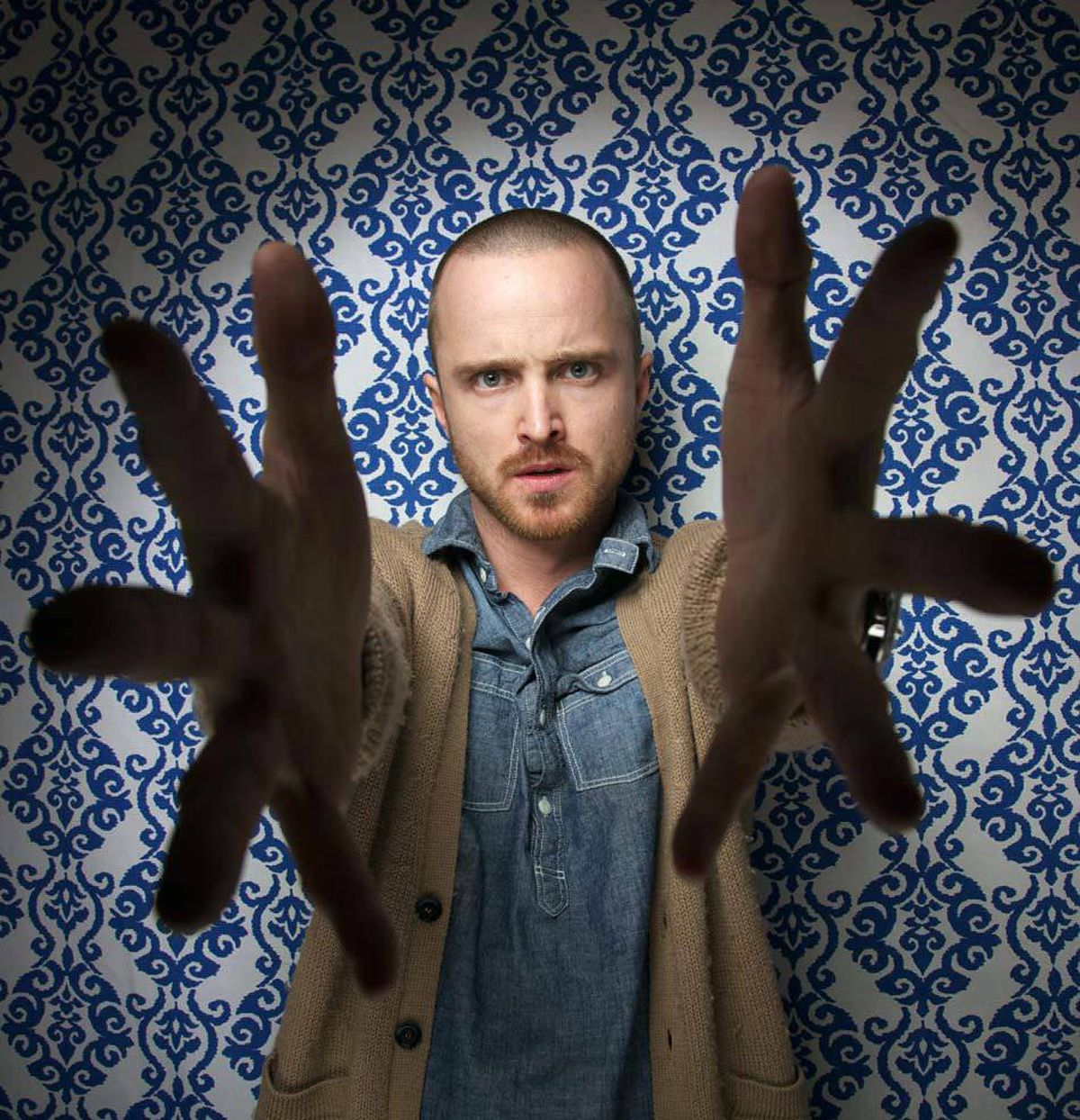 """""""Her head was like THIS!"""" says shocked actor Aaron Paul at the Sundance Film Festival Sunday."""