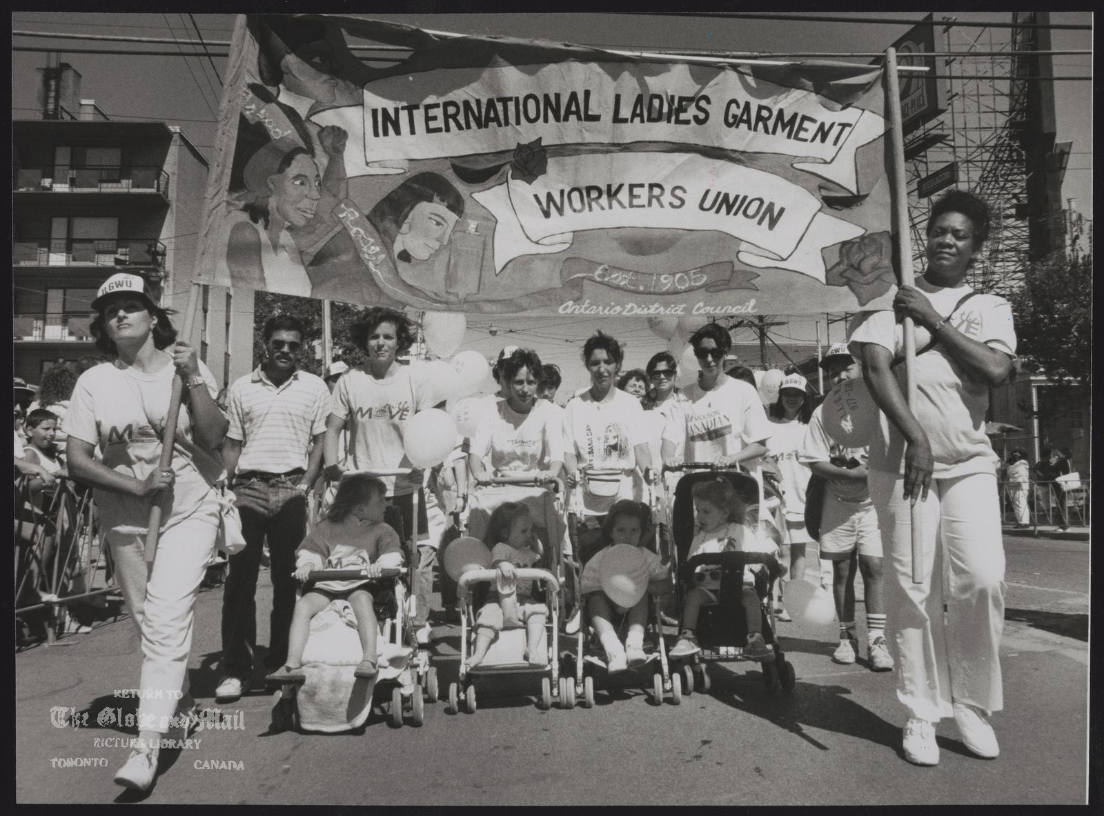 C.N.E. Labor Parade Members of the International Ladies Garment Workers Union march toward the Canadian National Exhibition in Toronto in the annual Labor Day parade.