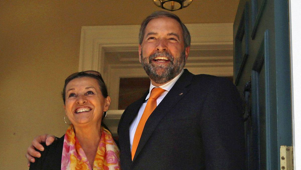 New Democratic Party Leader Thomas Mulcair and his wife Catherine arrive at Stornoway, their official residence in Ottawa, on April 18, 2012.