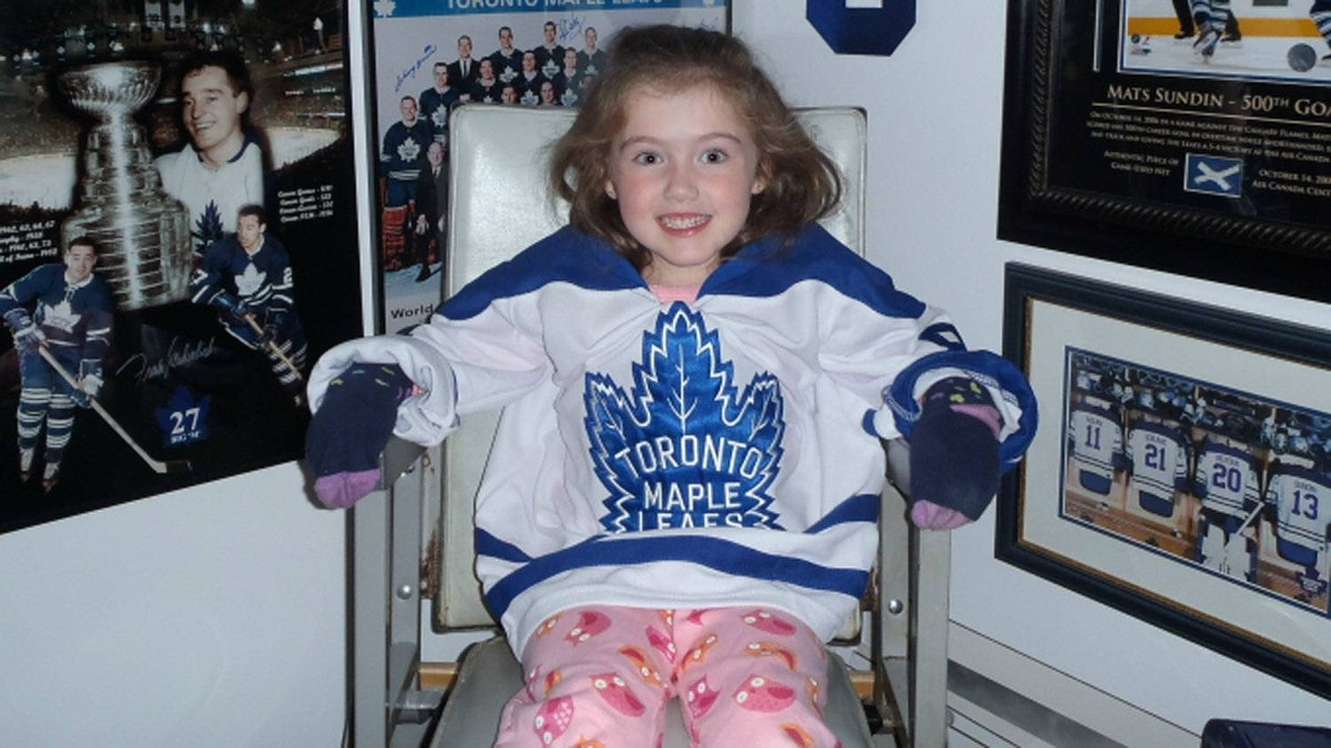 Ken LeBlanc's daughter, Isabelle, sits in one of his most treasured possessions: a vinyl seat from Maple Leaf Gardens from the section in which Mr. Leblanc sat when he watched the last hockey game played by the Toronto Maple Leaf and the Montreal Canadiens at the legendary stadium in 1998. He bought the seat for $1,400, bubble gum still stuck to it, at an auction of Gardens memorabilia.