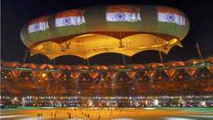 The Indian national flag is projected onto a balloon during the Commonwealth Games closing ceremony at the Jawaharlal Nehru stadium in New Delhi.