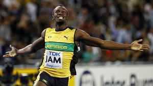 Jamaica's Usain Bolt celebrates after winning the men's 4x100 relay final at the World Athletics Championships in Daegu, South Korea, Sept. 4, 2011.