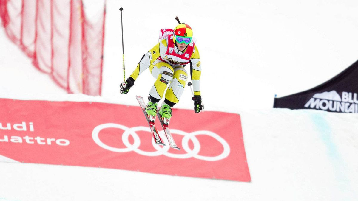 Marielle Thompson of Canada flies off the last jump to win the FIS Ski Cross World Cup at Blue Mountain in Collingwood, Feb. 3, 2012.