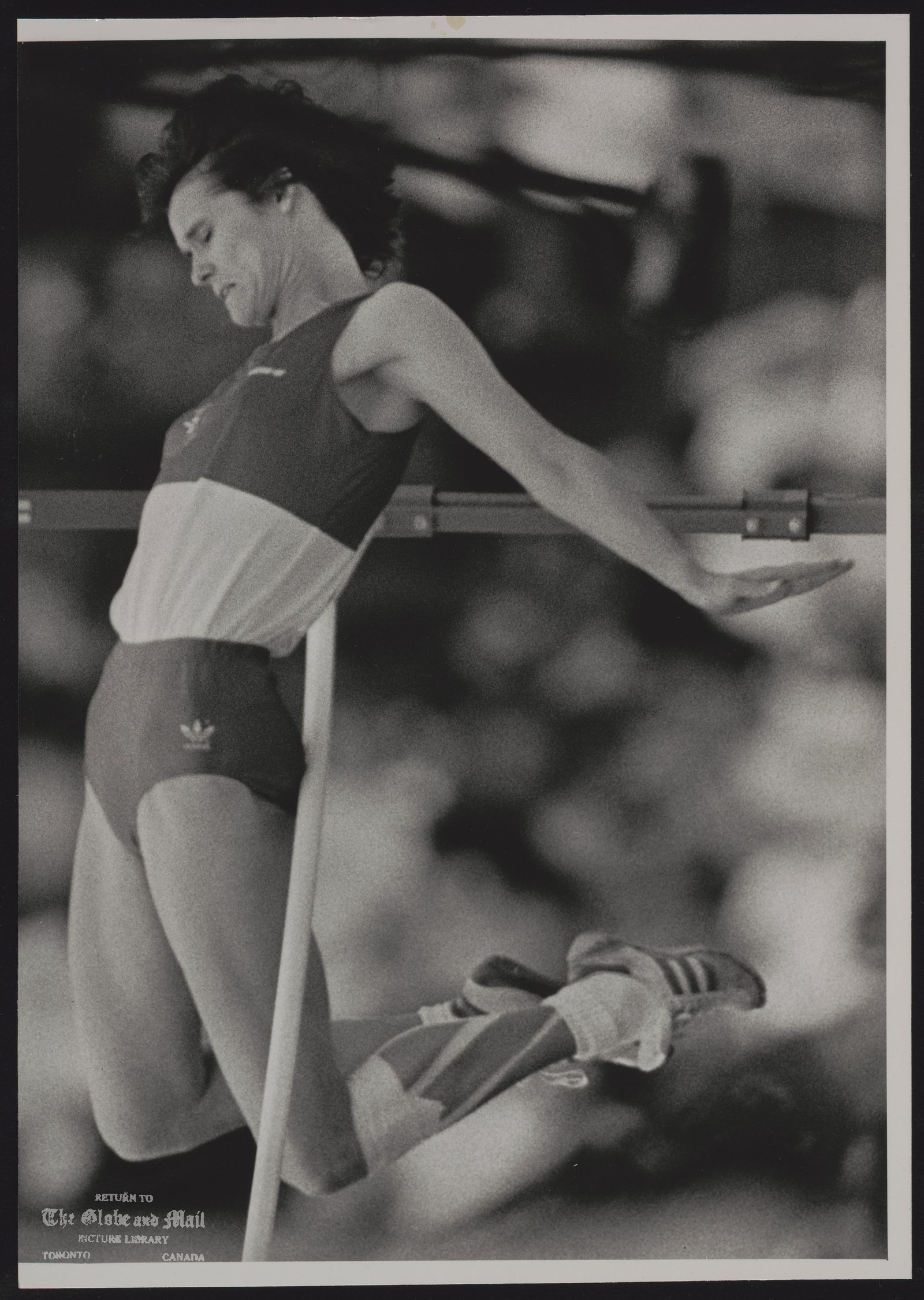 COMMONWEALTH GAMES EDINBURGH 1986 EDI17:SPECIAL FOR THE TORONTO GLOBE AND MAIL, CANADA. EDINBURGH, SCOTLAND, AUGUST 1,- Debbie Brill of Canada knocks the bar during the high jump competition at Meadowbank Stadium today. Brill was eliminated. REUTER rt/Hans Deryk 1986