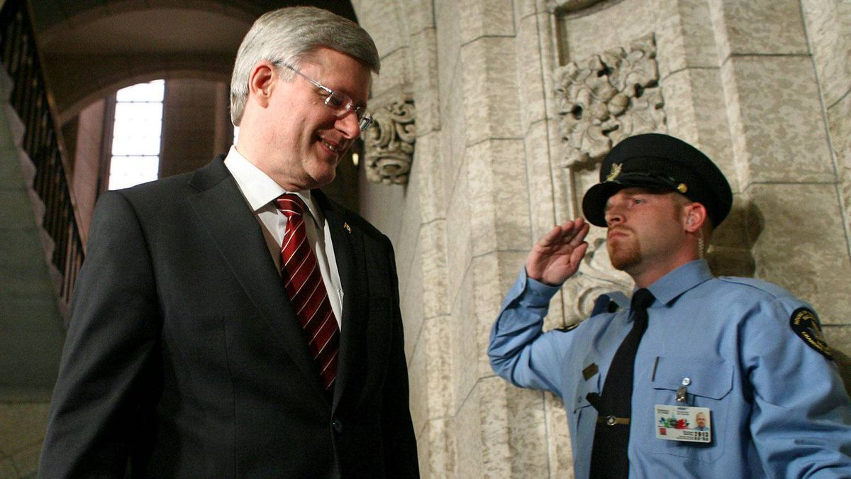 Prime Minister Stephen Harper walks into the House of Commons before the federal budget is tabled on March 29, 2012.