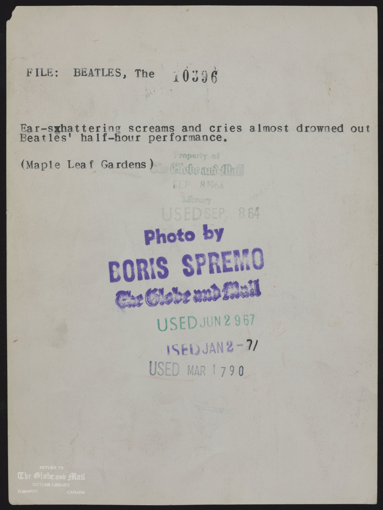 The notes written and typed on the back of this photograph, from the time it was printed, are as follows: BEATLES, The Ear-shattering screams and cries almost drowned out Beatles half-hour performance. (Maple Leaf Gardens)September 8, 1964,BORIS SPREMO