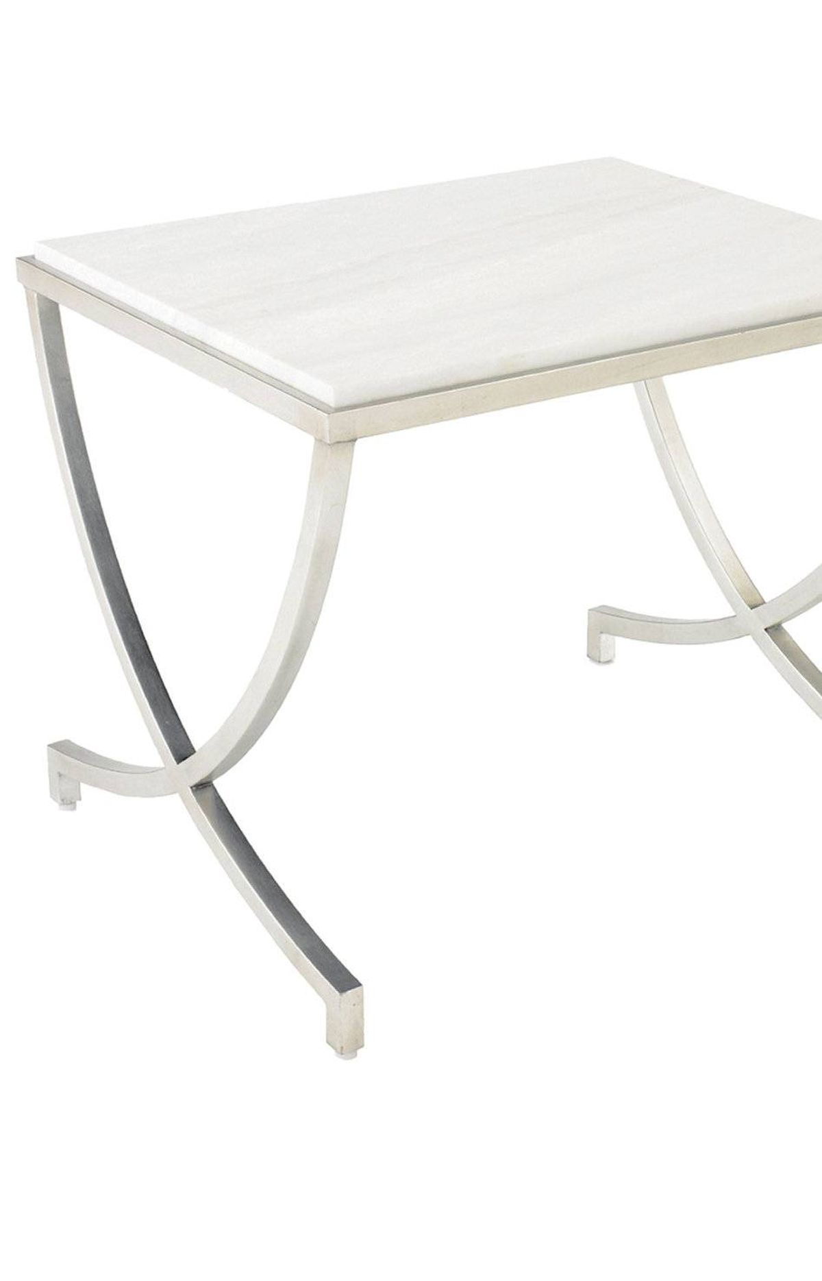 Silver leaf and marble veining add depth to this elegant side table. Silver Leaf Havaland table, $780 through www.dwell.com.